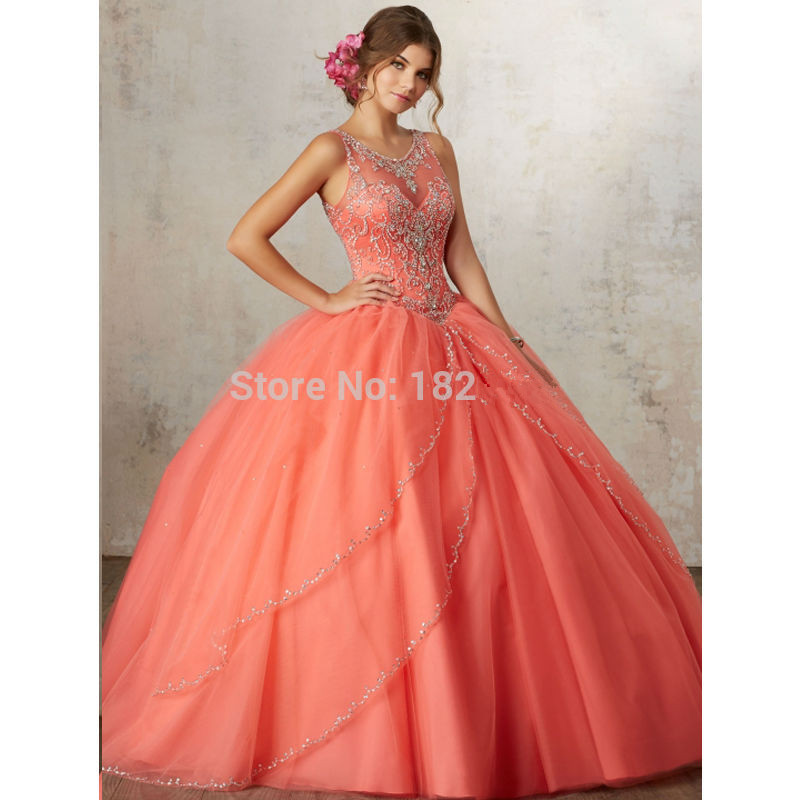 Coral Puffy Cheap Quinceanera Dresses 2019 Ball Gown Tulle Beaded Crystals Sweet 16 Dresses