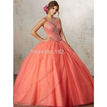 43f654edd Coral Puffy barato Quinceañera vestidos 2019 vestido de tul con cuentas  cristales dulce 16 vestidos