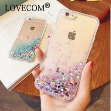 LOVECOM Amor Do Coração Estrelas Estrelas do Glitter Caso de Telefone Para o iphone 5 5S SE 6 6 S 7 Mais Dinâmico Líquido Quicksand TPU Macio Tampa Traseira
