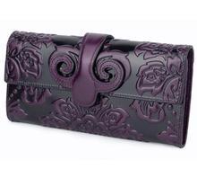 Винтаж натуральная кожа масло воск длинные кошелек с принтом бумажник для женщин