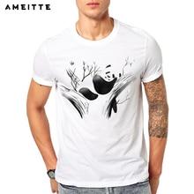 213ee8407 AMEITTE 2019 Funny Sleeping Panda T-Shirt Men's Novelty Animals Print T  Shirt Summer Geek