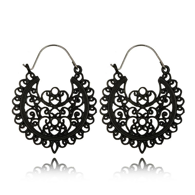 Fou Feng femmes Vintage boucles d'oreilles 2018 ethnique creux fleur gitane boucles d'oreilles indien bijoux Trible boucle d'oreille accessoires 6