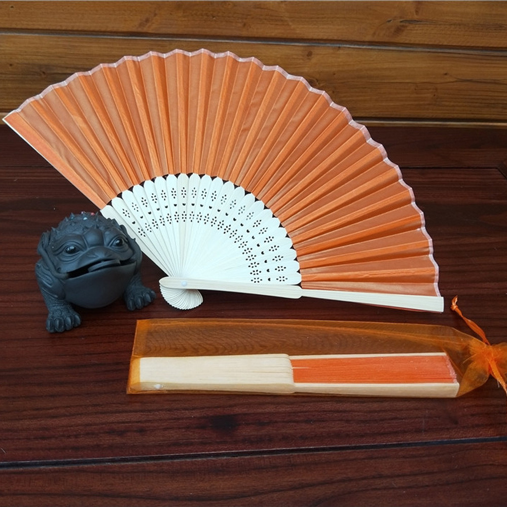 Folding Hand Fan Men's Black Bamboo Spun Silk Calligraphy Painting Writing Dancing Chinese Held Fans Wedding Party Favor 0.91