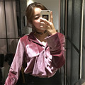 2017 Women Blusas Spring Fashion Pockets Patchwork Velour Blouse Solid Long Sleeve Turn-down Collar Casual Loose Shirts 63949