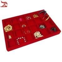 Brand New 24 Grid Jewelry Tray Red Velvet Pendant Earring Bracelet Display Box Jewelry Ring Storage