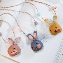 Korean Handmade Cute Cartoon Rabbit Bunny Fabric Yarn Kids Children Girl Necklace Apparel Accessories-HZPRCGNL052F