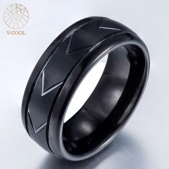 Classic Fashion Mens Tungsten Steel Ring Hand Matte Lassa European Style Wedding Band Male Jewelry