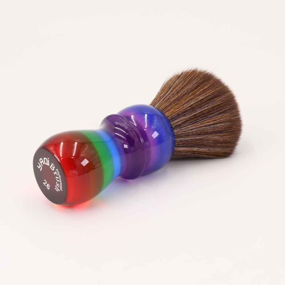 Yaqi 26mm Rainbow Brown pelo sintético brochas de afeitar
