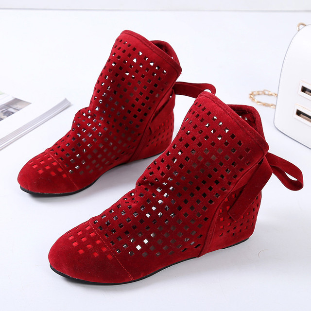 Women Boots Flat Low Hidden Wedges Cutout Ankle Boots Casual Shoes Cute Booties Woman winter Lady Boots Women Fashion Hotselling