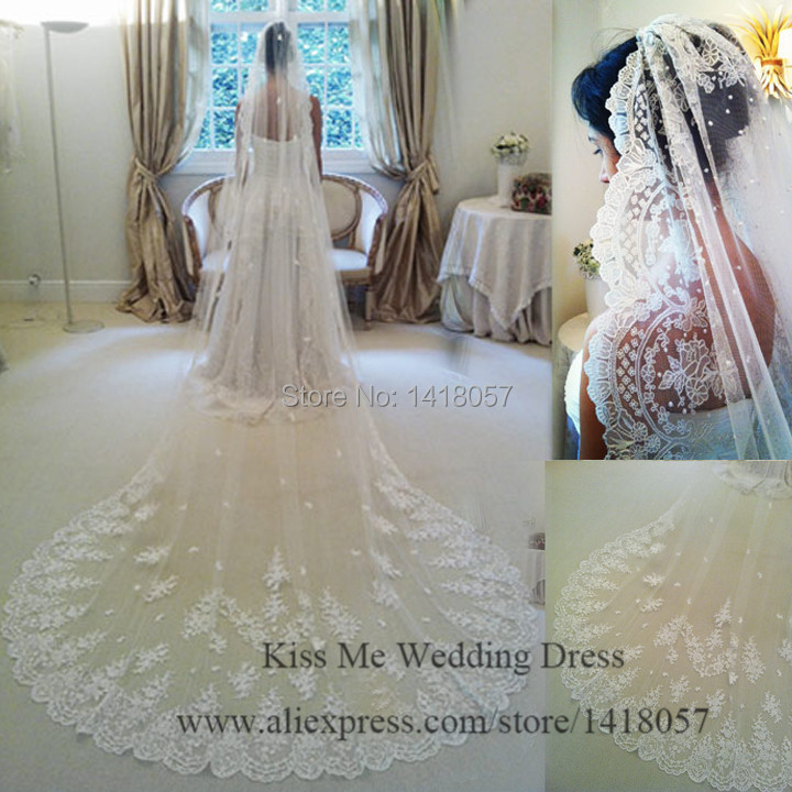 2015 velo de novia Three Meters Long Cathedral Wedding Veils Lace Ivory White Two layers Tulle and Lace Bridal Veil Purfle Comb