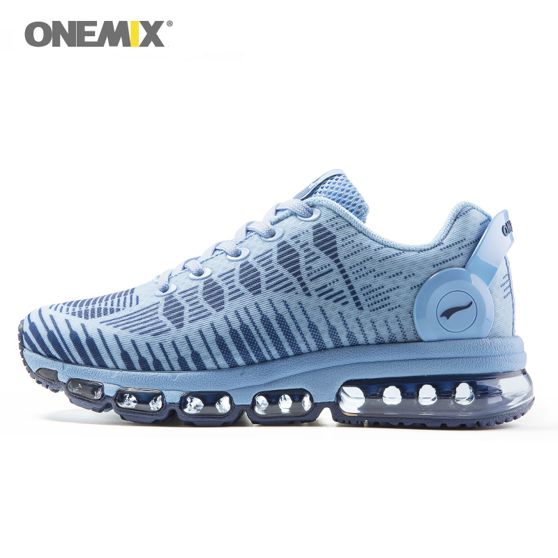 Onemix women's running shoes breathable sports sneakers vamp outdoor jogging shoes light female walking sneakers in blue onemix hot sales women music rhythm breathable knit vamp women sports shoes running shoes sneakers free shipping shoes size 4 40