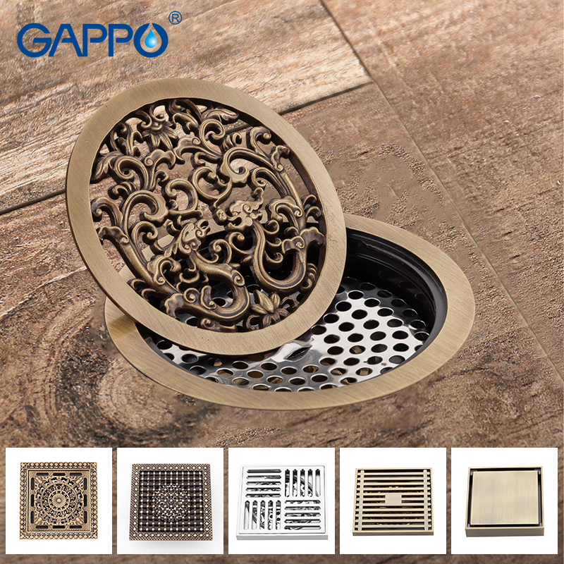 GAPPO Drains bathroom floor drain shower fioor cover antique brass shower drain Bathtub Shower Drains цена