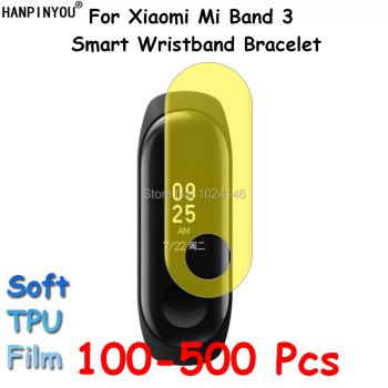 100 Pcs/Lot For Xiaomi Mi Band 3 Band3 Smart Wristband Bracelet Clear Soft TPU Film Screen Protector Guard (Not Tempered Glass)