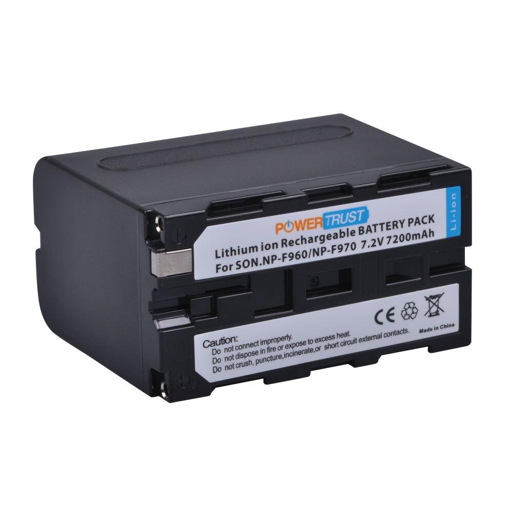 1Pcs PowerTrust 7200mAh NP F960 NP F970 Battery NP F970 NP F960 Camcorder batteries for Sony NP F550 F770 F750 F960 F970