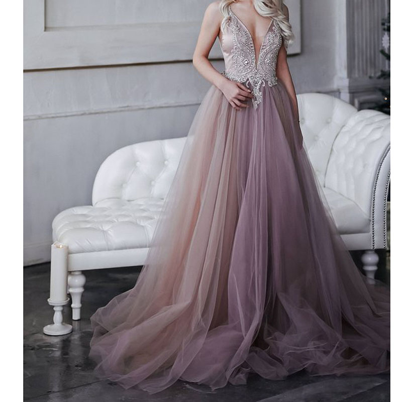 b88aef72ff30b Pretty 2018 Sparkly Crystal Beaded Long Formal Party Dresses New Dusty Pink  A line Backless Long Prom Gowns Abiye Abendkleider-in Dresses from Women's  ...