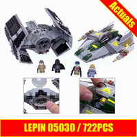 722Pcs LEPIN 05030 Star Vader Wars Tie Advanced VS A Star Wing Fighter 75150 Building Blocks