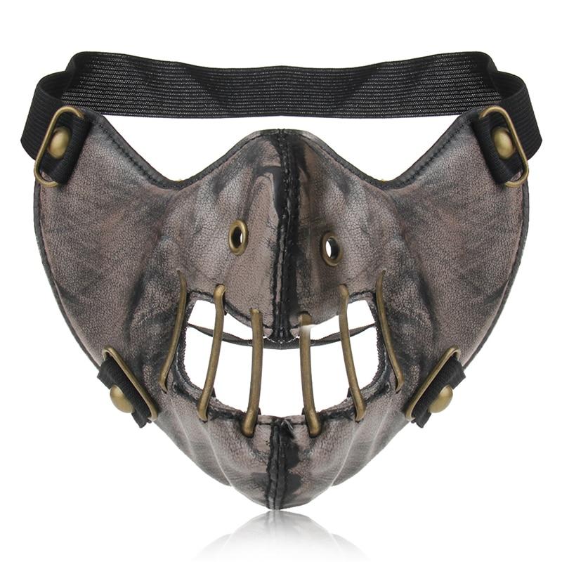 Leather Cosplay Masks Steampunk Gear Mask Gothic Spikes Rock Rivets Hip Pop Masks Men Women Half Face Masque Party Masks