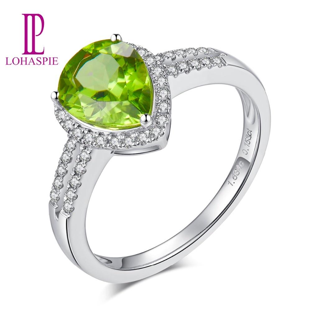 LP diamant bijoux goutte d'eau 1.762CT péridot classique anneau pierre naturelle véritable 14k or blanc cadeau bijoux de fiançailles