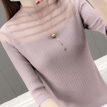 Women tops Frosted knitted sexy 2019 Autumn New women shirt lace turtleneck Ice silk knitting half sleeve blusa 83B60
