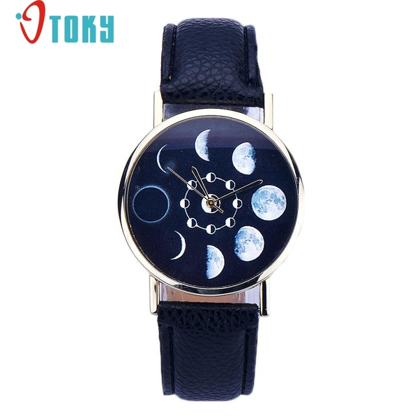 Novel Design Women watches Lunar Eclipse Pattern PU Leather band clock Analog Quartz Wrist Watch relogios feminino hour jy15 lvpai wathces women relogio feminino elegant dress clock retro design pu leather band analog quartz wrist watch
