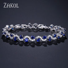 ZAKOL 4 Color Options Fashion Ladies Cubic Zirconia Royal Blue Stone Bracelets For Women Wedding Jewelry Christmas Gift FSBP170(China)