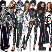2018 New Women Sexy Bodysuits Halloween Costumes For Women 3D Skull Full Printing Jumpsuits Punky Back Zipper Suit Wholesale