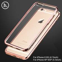 30pcs/Lot HOCO Sparkling Ultra-Slim Electroplating Transparent TPU Case for IPhone 6 6S Shining Soft TPU Cases for IPhone 6Plus