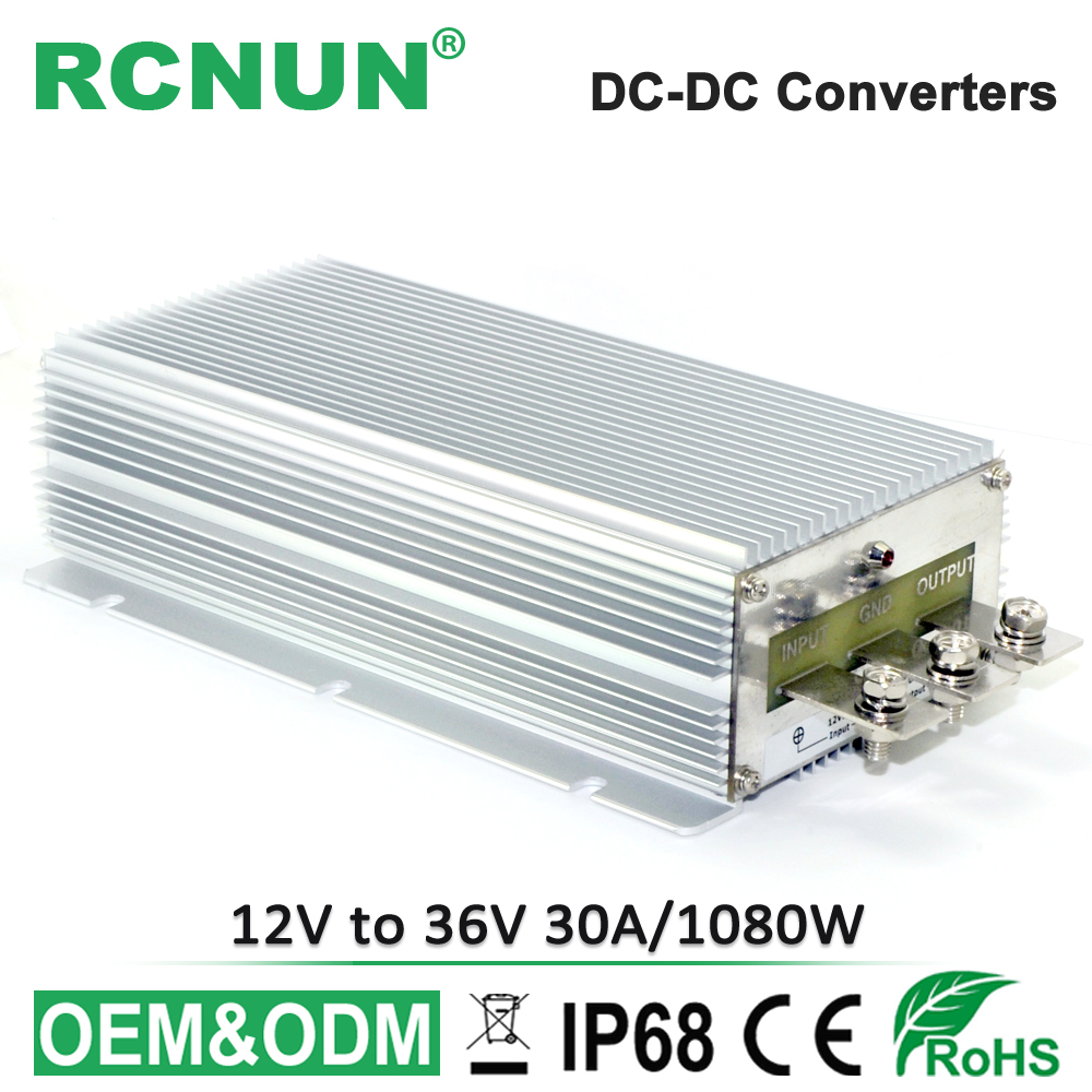 Industrial Quality Step up DC DC Converter 12V to 36V 30A Waterproof Boost Module Power Converters