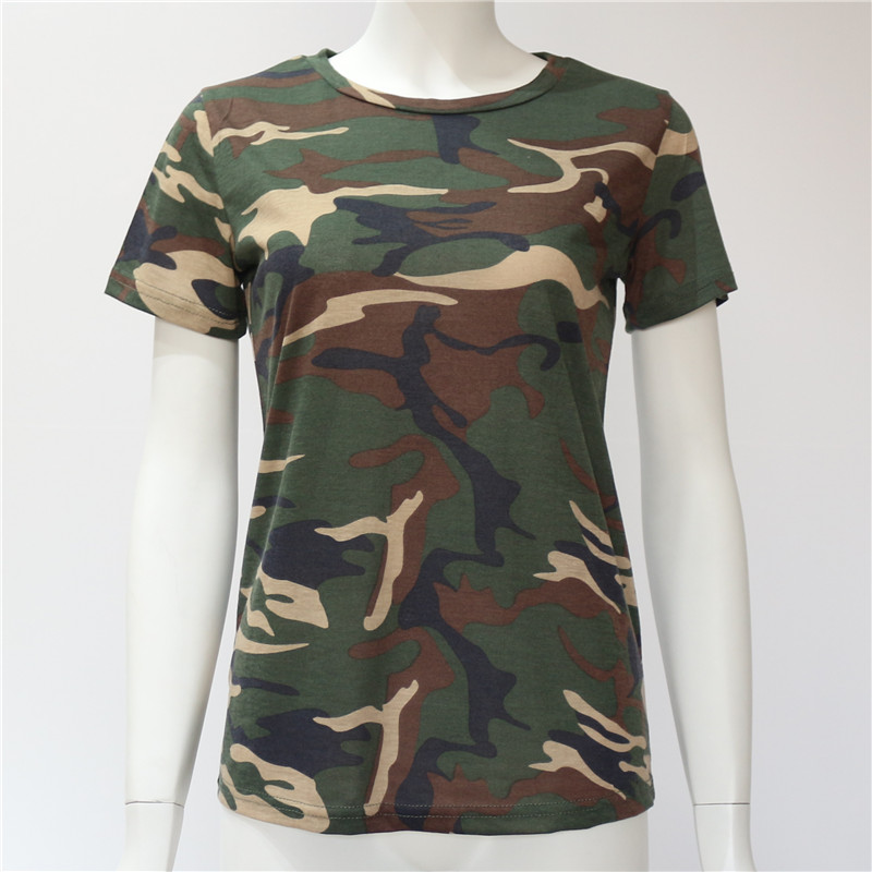 Women Camouflage Tops Tees Slim O-neck Female Cotton Tops Plus Size S-XXXL T Shirt 2018 Summer Short Sleeve T-Shirt Girls Casual