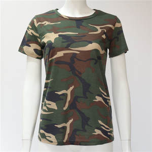 Camouflage Tops Tees T-Shirt Short-Sleeve Slim Female S-XXXL Girls Plus-Size Casual Women
