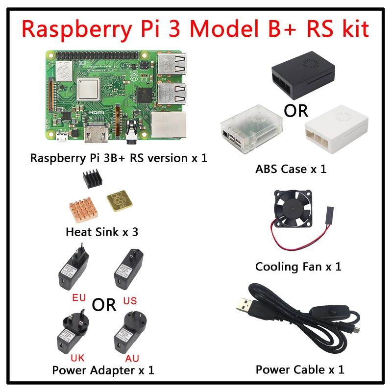 Raspberry Pi 3 Model B+ Plus kit Raspberry Pi 3 Model B+3pcs Heat Sink+ABS Case+5V 2.5A Power Adapter for Raspberry Pi 3B+/3