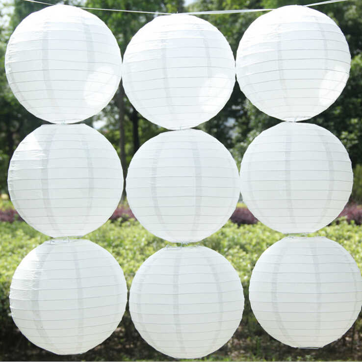 10 Pieces 12 Inch 30cm White Hanging Paper Lanterns For Baby Shower or Wedding Decoration Lampion