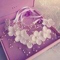 2016 Люкс свадебное hairband взлетно-посадочной полосы волос ювелирные изделия в стиле барокко металл белый цветок перл головные уборы ручной волос застежка женщины платье ювелирные изделия