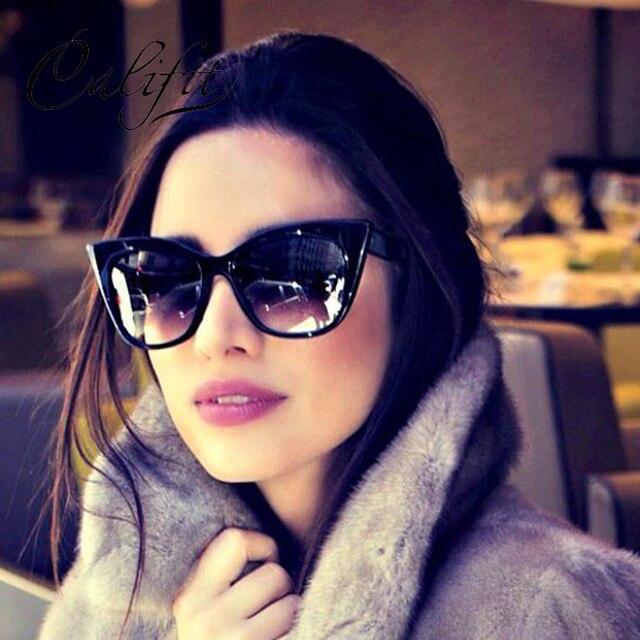b8ff5b8a930 CALIFIT Ladies Vintage Matte Cat Eye Sunglasses Women Luxury Brand Designer Sun  Glasses For Women Gradient