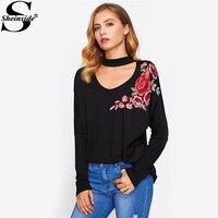 Sheinside Choker Neck Flower Embroidery Patch Tee 2017 Women Black V Neck Long Sleeve T Shirt
