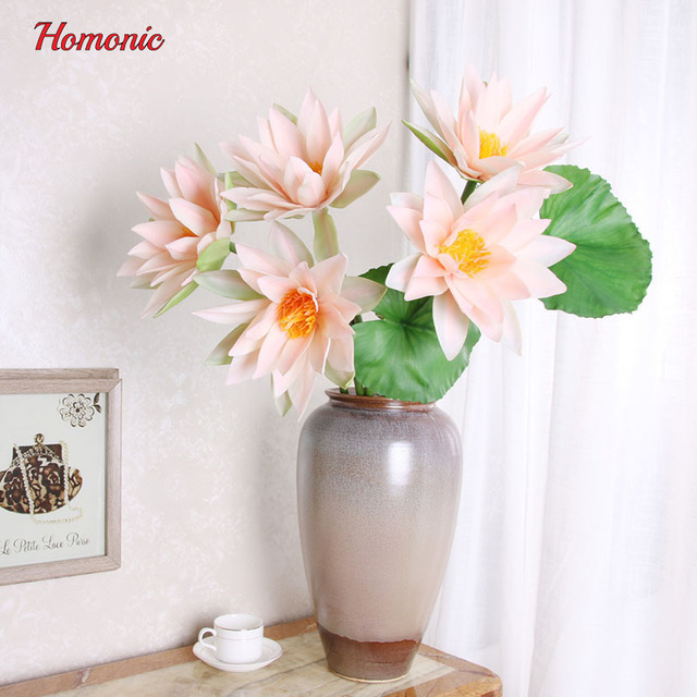 PVC Real Touch Artificial Flowers Lotus Plant Diy Home Decoration  Accessories Flowers Decoration Artificial Flowers Supplier