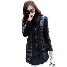 2016 Winter Jacket Women Slim Artificial Wool Collar Stitching Long Parka Mujer Casual Plus Size Fashion Black Cotton Coat