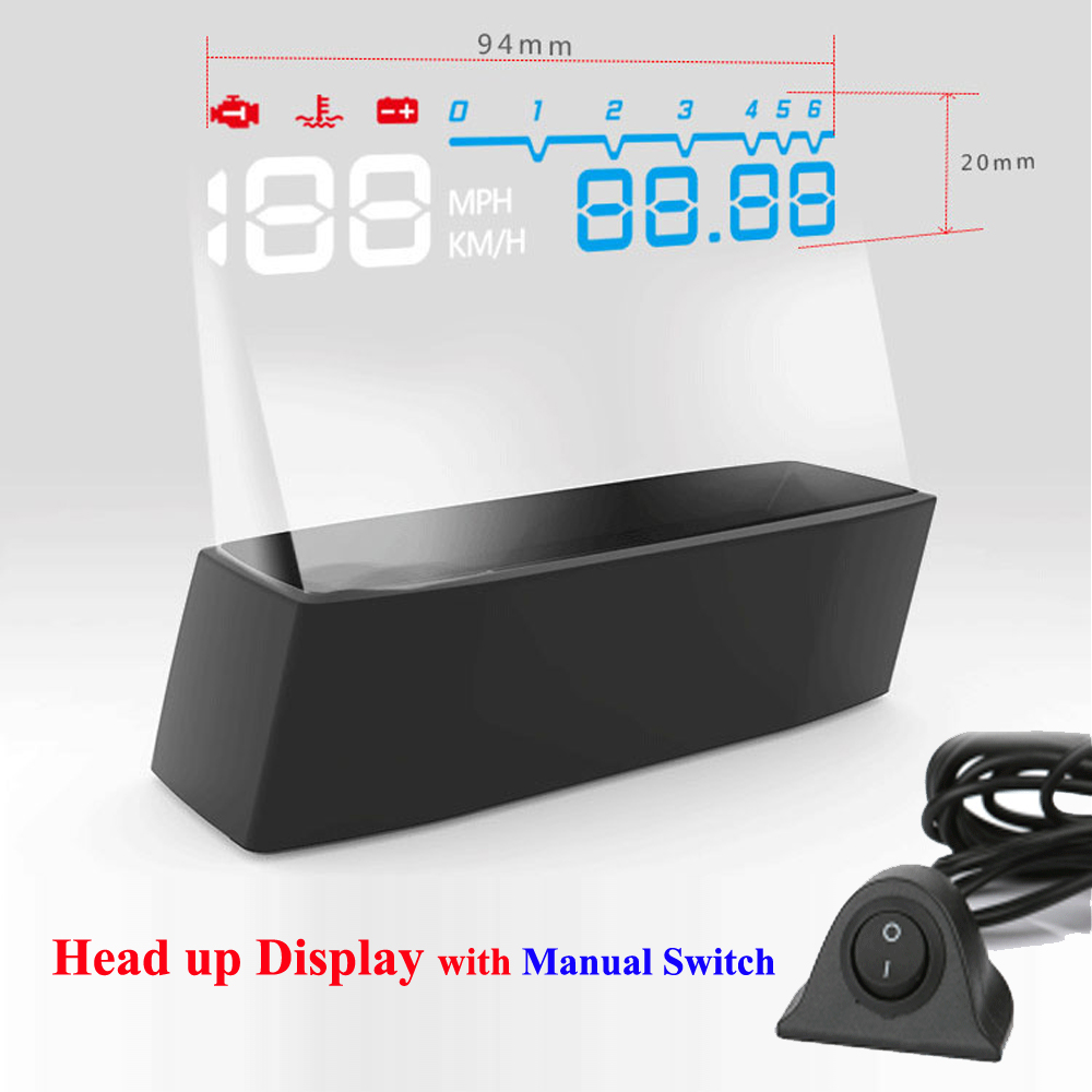 2017 4F Headup Display HUD Proyector de coche Sistema OBD II EOBD RPM Velocidad Consumo de combustible con interruptor manual Head Up Display Car
