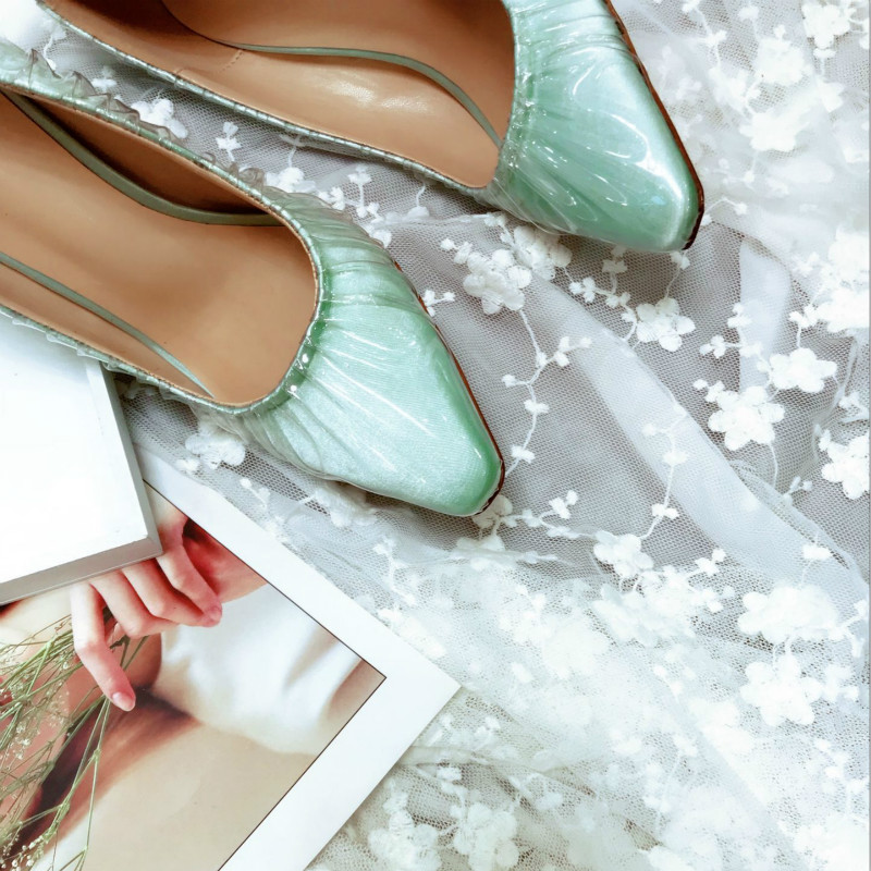Pompes Mince Sexy Transparent Talons Sur Green Peu Carré Mode Femmes Haute De Glissement Soie Noir 2018 Classique Black Orteil Vert Profonde light Nouveau Chaussures Dames AaIUnw