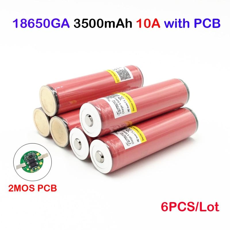 Ncr18650ga 3500 mah 6 pièces dans un lot pour ncr18650ga 18650 batterie protégée 3.6 V 10A piles rechargeables à dessus plat ja11