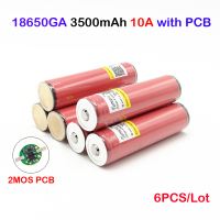 ncr18650ga 3500mah 6pcs in a lot for ncr18650ga 18650 Battery protected 3.6V 10A Flat Top Rechargeable Batteries ja11