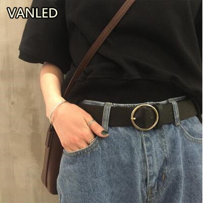 New Harajuku Style Circle Buckle Metal Pu Wide Belt Womens Belts Fashion Accessary