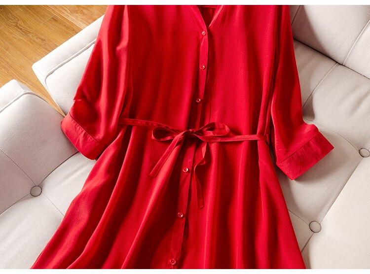 Femmes robe rouge 100% réel soie crêpe col en V ceinturé robes pour femmes 2019 été demi manches bureau dame robe - 4