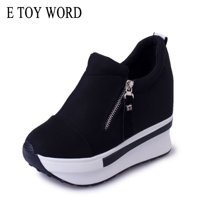 E TOY WORD Super High Canvas Shoes Spring Autumn Fashion Women's Shoes Wedges Casual Shoes Platform Shoes trainers zapatos mujer go games super fun word search
