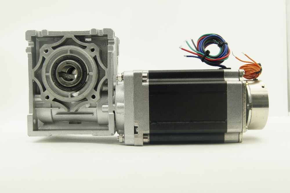 4-lead NEMA 34 Worm geared Stepper Motor with brake and output shaft 8.5N.m(1215oz-in) Motor Length 118mm Worm Gear Ratio 1:5 4 lead nema 34 worm geared stepper motor with brake and output shaft 8 5n m 1215oz in motor length 118mm worm gear ratio 1 5
