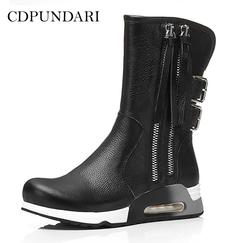 CDPUNDARI Genuine Leather snow boots women Winter shoes Ladies Platform Ankle boots platform bowkont flocking snow boots