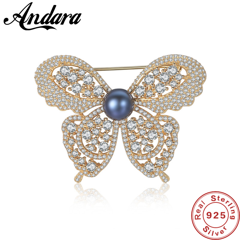 2 Colors Vintage Gold Cute Animal & Insect Butterfly Brooches Pins for Women <font><b>Crystal</b></font> Brooch Clothing Accessories Fashion Jewelry image