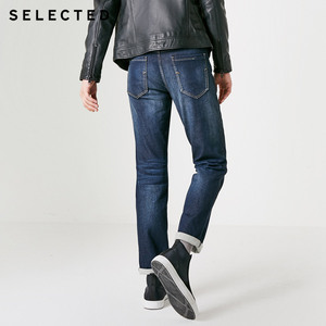 Image 4 - เลือกผู้ชายกางเกงยีนส์ฤดูใบไม้ร่วงฤดูหนาวผ้าฝ้ายเล็กน้อยยืดซีดจางตรงDenimกางเกงC
