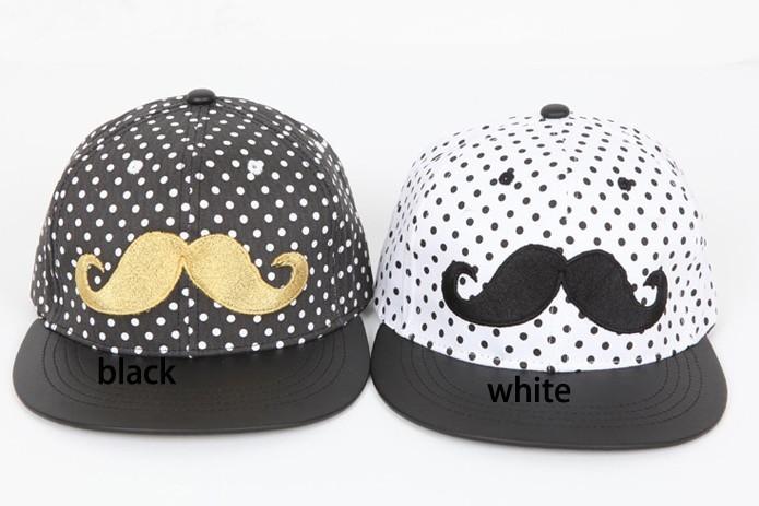 men women fashion casual cap summer short brim dot mustache (2)
