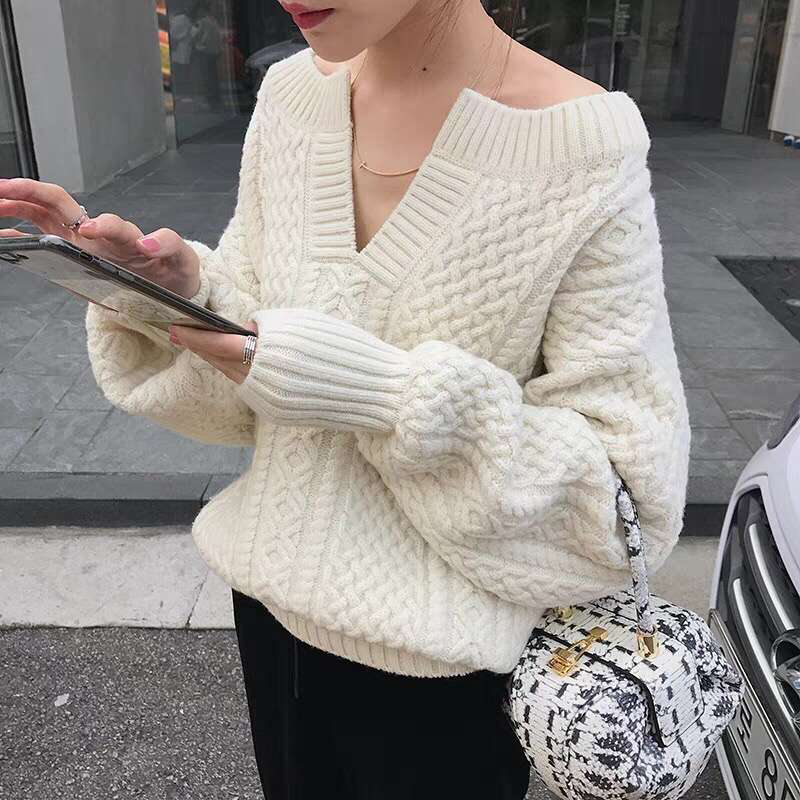 Oversized Women Thicken Twist V-neck Wool Sweater New Arrival White Off Shoulder Pullovers Tops Women's Clothing